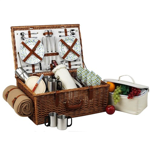 Picnic at Ascot Dorset English-Style Willow Picnic Basket with Service for 4, Coffee Set and Blanket - Gazebo [Wicker with Gazebo Plates/Napkins]