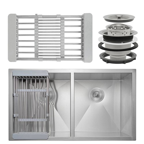 AKDY Handcrafted All-in-One Undermount Stainless Steel 32 in. x 18 in. x 9 in. Double Bowl Kitchen Sink with Tray and Drain