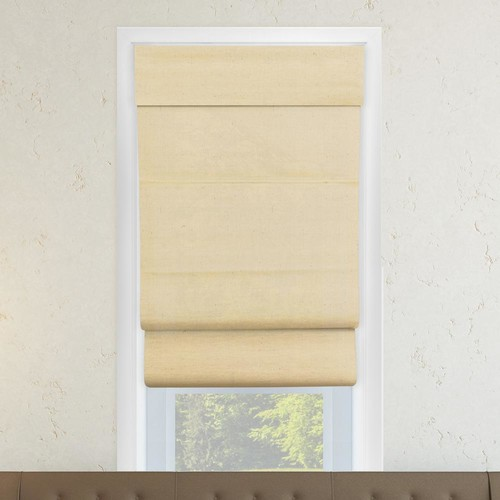 Chicology 27 in. W x 64 in. L Cotton Sandstone Horizontal Fabric Roman Shade