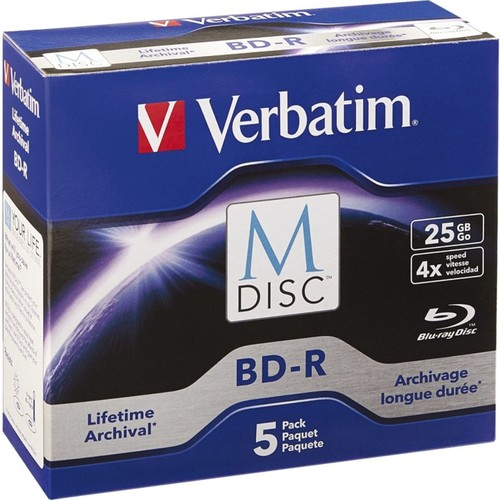 Verbatim M-Disc BD-R 25GB 4X with Branded Surface - 5pk Jewel Case Box