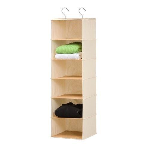 Honey-Can-Do SFT-01003 Hanging Closet Organizer, Bamboo/Canvas, 6-Shelf [Bamboo]