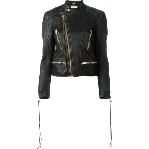 SAINT LAURENT Distressed Leather Biker Jacket