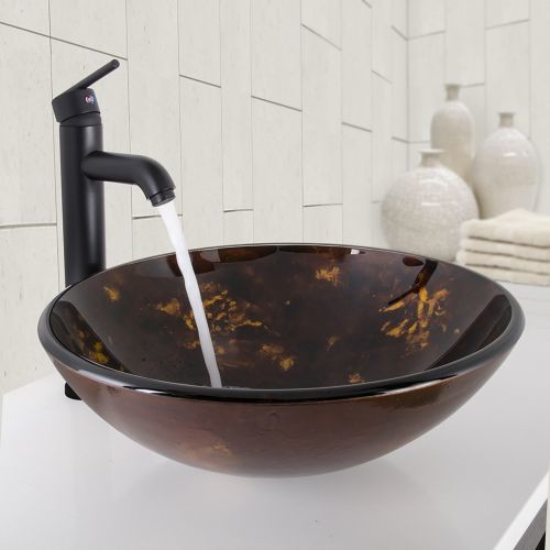 VIGO Brown and Gold Fusion Glass Vessel Bathroom Sink and Seville Bathroom Vessel Faucet in Matte Black