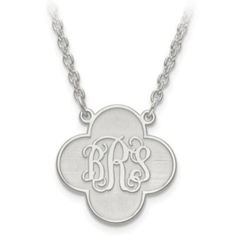 Sterling Silver or 14K Gold-Plated Script Letters 18-Inch Chain Clover Pendant Necklace
