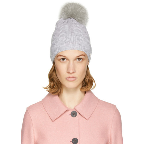 YVES SALOMON Grey Cable Knit Fur Pom Pom Beanie
