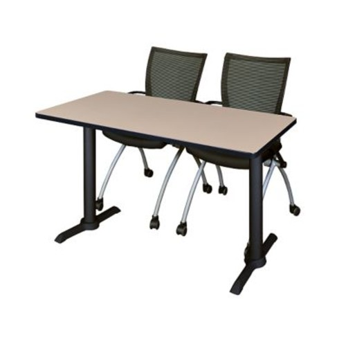 Regency 48'' Rectangular Training Table and Chairs, Beige w/ Apprentice Chairs (MTRCT4824BE09BK)