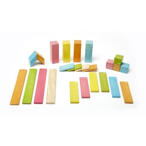 24 Piece Tegu Magnetic Wooden Block Set, Tints [Tints, 24 Piece sets]