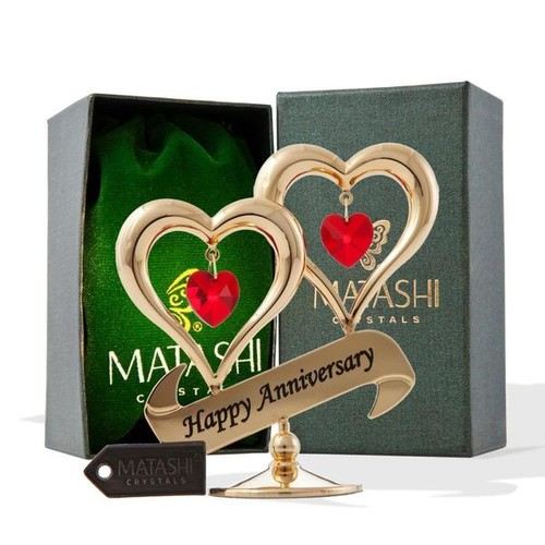 Matashi Gold-plated Red Crystal Happy Anniversary Double Heart Tabletop Ornament