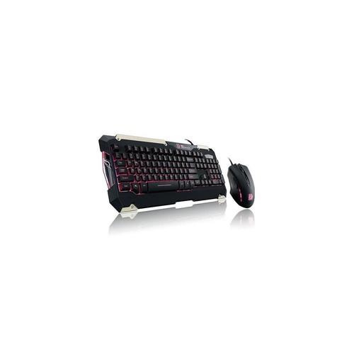 Thermaltake KB-CMC-PLBDUS-01 Tt Esports Commander Led Illumination Gaming Keyboard & Mouse Combo Bundle, Red