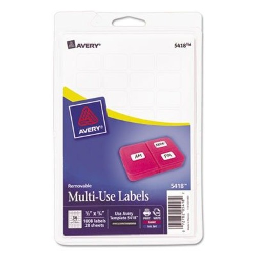 Avery Print or Write Removable Multi-Use Labels, 1/2 x 3/4, White, 1000/Pack