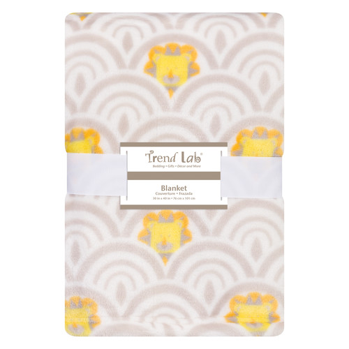 Trend Lab Art Deco Lions Scallop Plush Baby Blanket