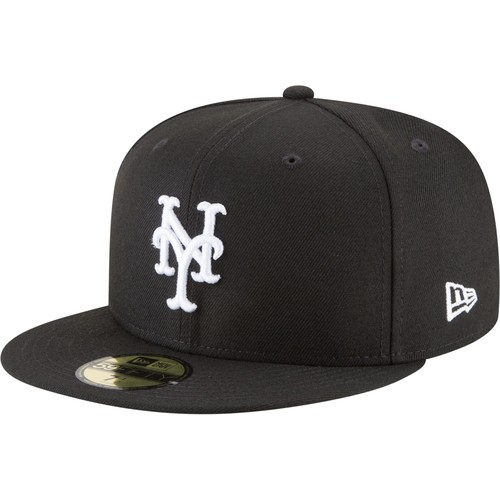 Era Men's New York Mets 59Fifty Basic Black/White Fitted Hat