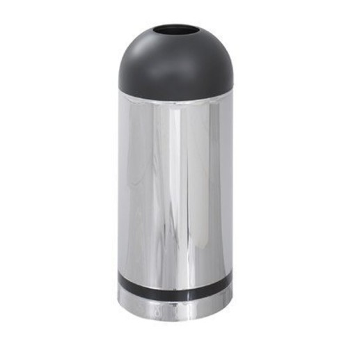 Safco Products 9871 Reflections By Safco Open Top Dome Waste Receptacle, 15-Gallon, Chrome