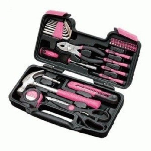 Apollo Tools DT9706P Original 39 Piece General Repair Hand Tool Set with Tool Box Storage Case Pink Ribbon
