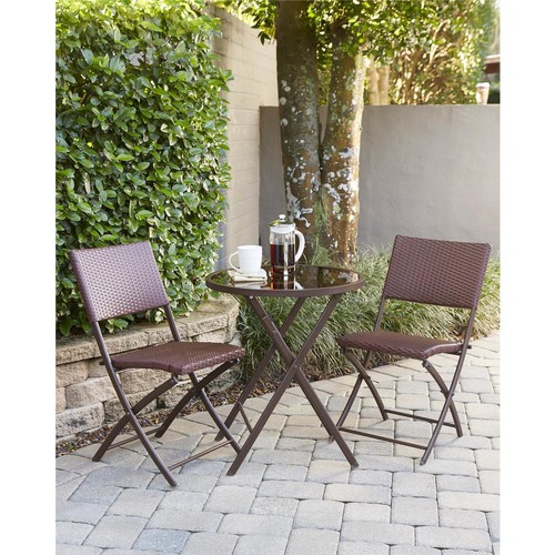 Cosco Delray Transitional 3-Piece Steel Dark Brown & Red Woven Wicker Dining Height Folding Patio Bistro Set