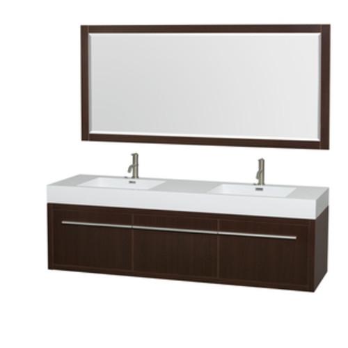 Wyndham Collection Axa 72-inch Acrylic ResTop Int. Sink and 70-inch Mirror Double Bathroom Vanity