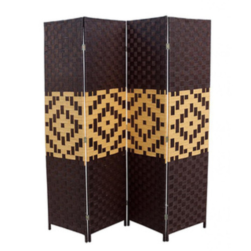 Hand-crafted Espresso/ Brown Paper Straw Weave Screen