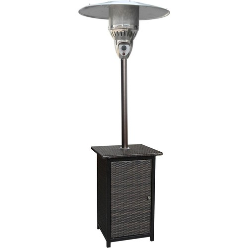 Hanover 7 ft. 41,000 BTU Brown Square Wicker Propane Gas Patio Heater