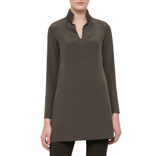 AKRIS Leather-Trim Silk Shantung Tunic, Turtle
