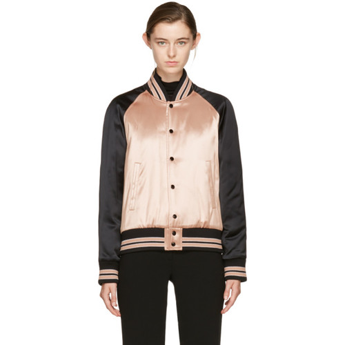 SAINT LAURENT Pink Satin Teddy Bomber Jacket