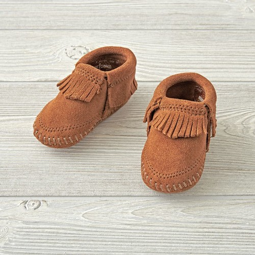 Minnetonka Riley Brown Baby Bootie Size 4 (9-12 Months)