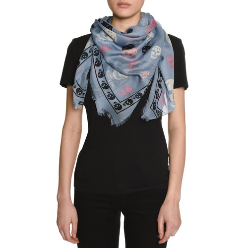 ALEXANDER MCQUEEN Voile Mixed-Skull Scarf, Blue/Black