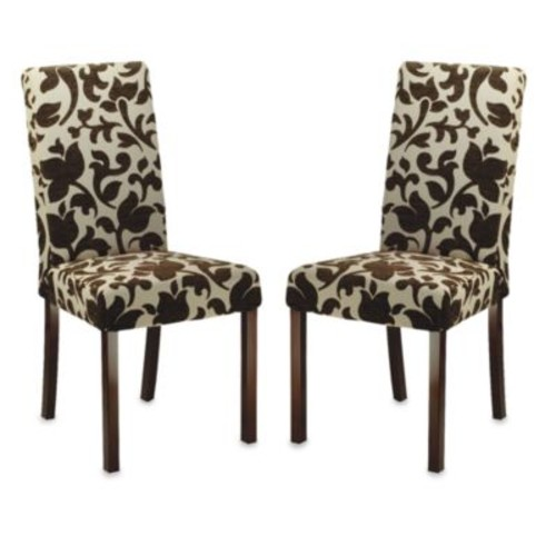 Safavieh Parsons Dining Chairs in Brown Floral (Set of 2)