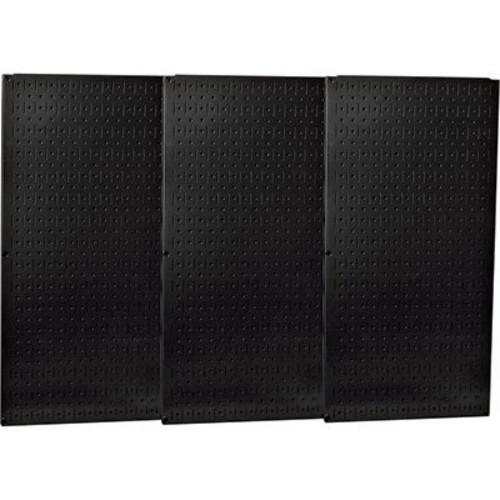 Wall Control Industrial Metal Pegboard - Black, Three 16in. x 32in. Panels, Model# 35-P-35-P-3248BK