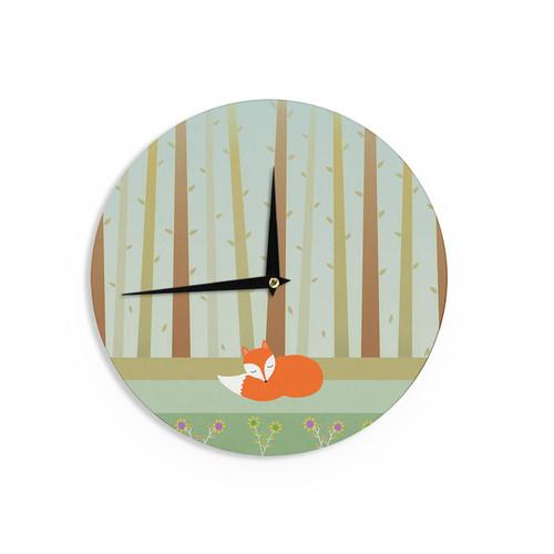 KESS InHouse Cristina bianco Design 'Sleeping Fox' Green Illustration Wall Clock
