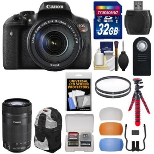 Canon EOS Rebel T6i Wi-Fi Digital SLR Camera & EF-S 18-135mm IS & 55-250mm IS STM Lens with 32GB Card + Backpack + Tripod + Filters + Diffusers Kit