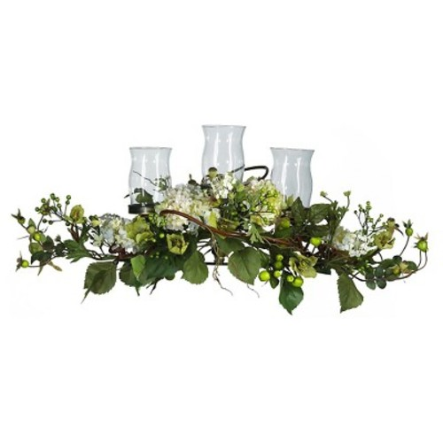 Nearly Natural Hydrangea Triple Candelabrum Centerpiece Cream