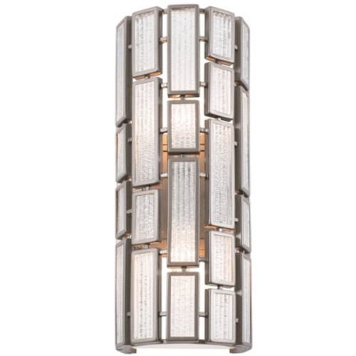 Varaluz Harlowe 2-Light New Bronze Sconce with Textured Ice Glass
