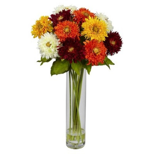 Sunflower with Cylinder Silk Flower Arrangement - Nearly Natural