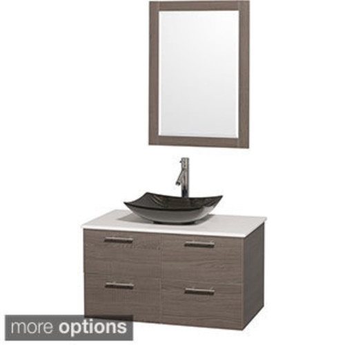 Wyndham Collection Amare 36-inch Single Vanity in Glossy White with Green Glass Countertop/ 24-inch Mirror