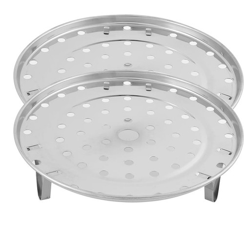 Unique Bargains Stainless Steel Round Cooking Food Steamer Rack Plate Silver Tone 195mm Dia 2pcs