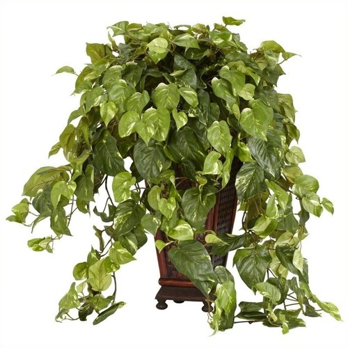 Nearly Natural Vining Pothos with Decorative Vase Silk Plant in Green