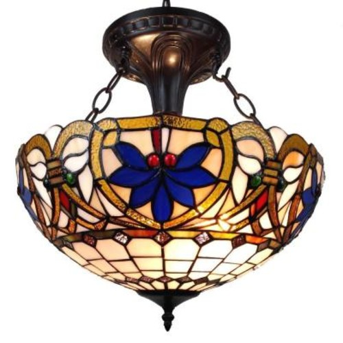 Amora Lighting 2-Light Tiffany Style Victorian Design Pendant
