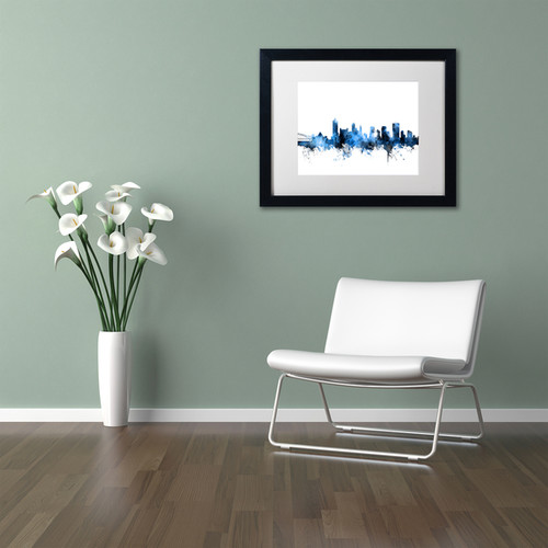 Michael Tompsett 'Memphis TN Skyline White' Matted Framed Art [option : 11x14]