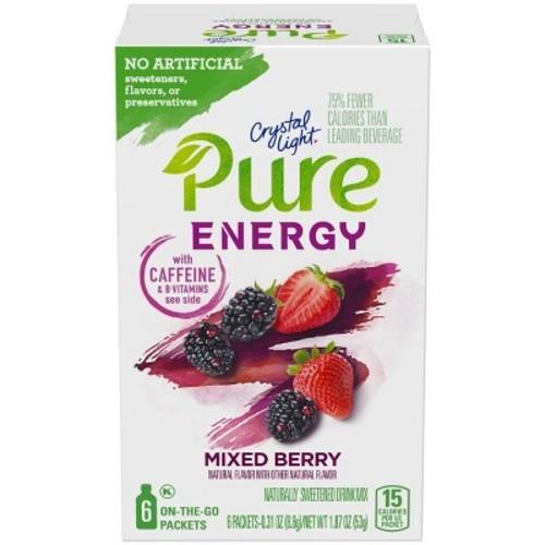 Crystal Light Pure Mixed Berry Energy Mix - 6pk / 1.8oz