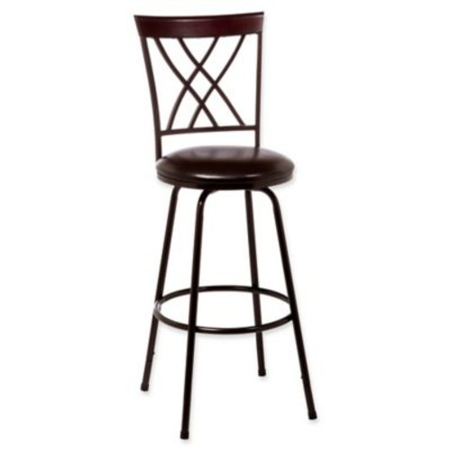 Hillsdale Northland Swivel Bar Stool with Nested Legs in Brown/Cherry