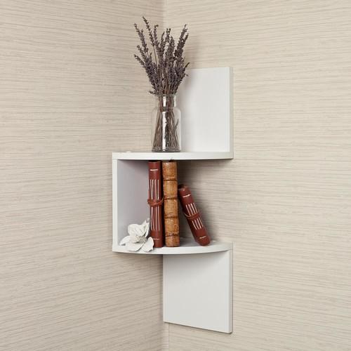 DANYA B 20 in. White Laminated Corner Shelf