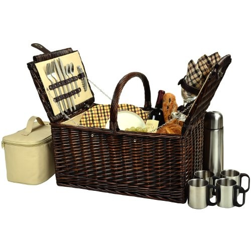 Picnic at Ascot Buckingham Willow Picnic Basket with Service for 4 and Coffee Service - Blue Stripe [Brown Wicker- London Plaid Plates/Napkins]