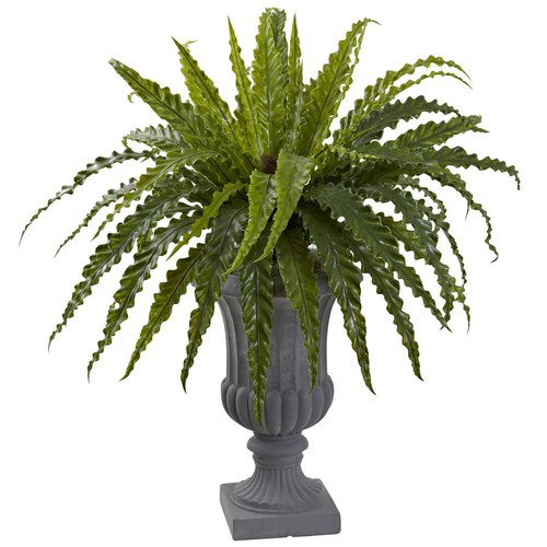 Nearly Natural Birds-Nest Fern with Urn