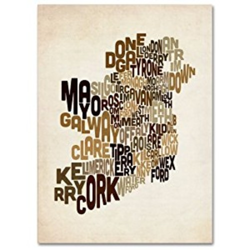 Ireland Text Map 2 by Michael Tompsett work, 14 by 19-Inch Canvas Wall Art [14 by 19-Inch]