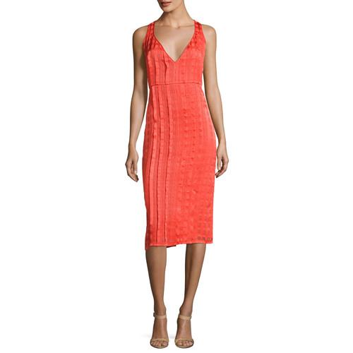 DIANE VON FURSTENBERG Sleeveless V-Neck Tailored Midi Dress, Red