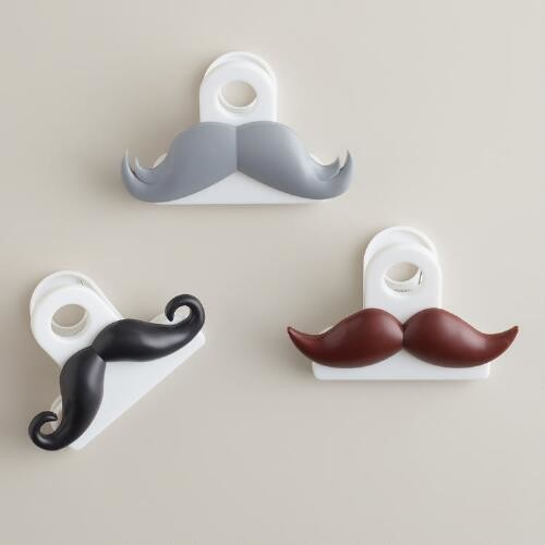 Mustache Bag Clips, Set of 3