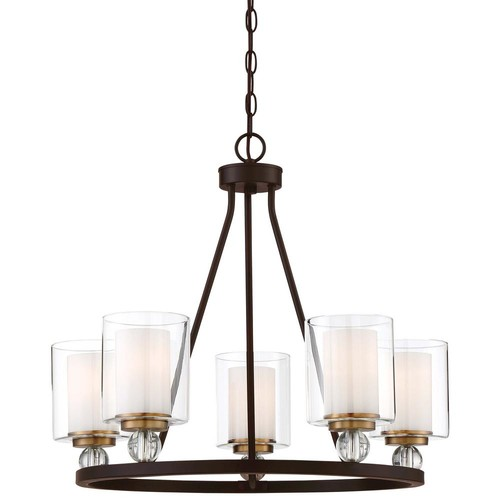 Minka Lavery Studio 5 Collection 5-Light Painted Bronze with Natural Brushed Brass Chandelier with Clear Glass Shades