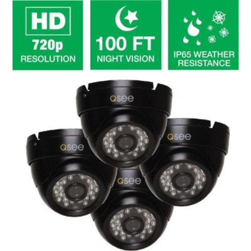 Q-SEE Wired 720p Indoor/Outdoor HD Dome Camera with 100 ft. Night Vision (4-Pack)