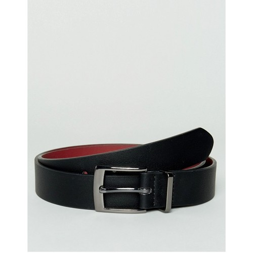 ASOS Smart Faux Leather Slim Belt In Black With Metal Keeper