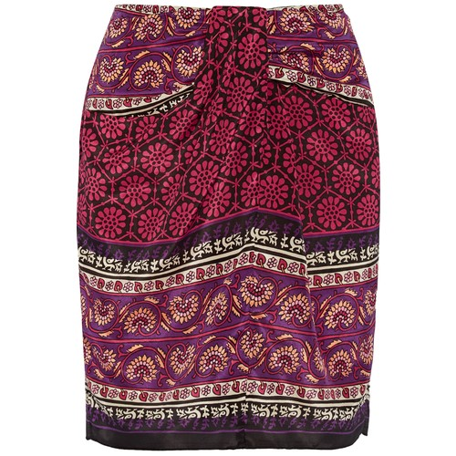 Printed silk and cotton-blend mini skirt